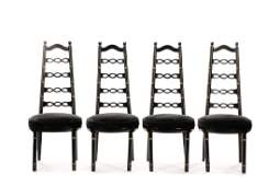 Set 4 Black Hollywood Regency Bamboo Dining Chairs