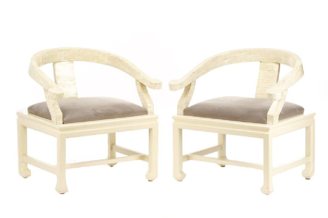 Pair of Modern Horseshoe Veneered Armchairs