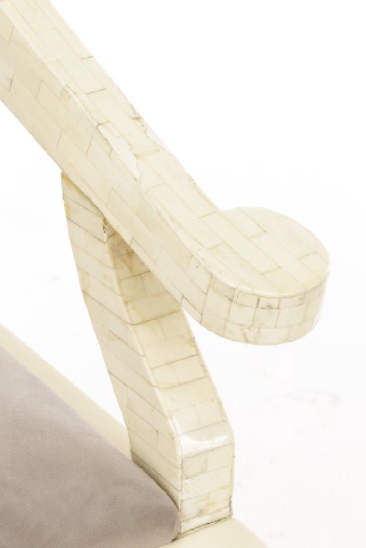 Pair of Modern Horseshoe Veneered Armchairs - 2