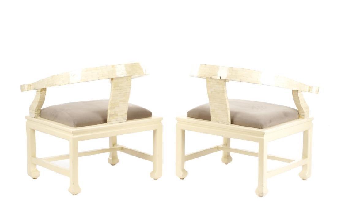 Pair of Modern Horseshoe Veneered Armchairs - 6
