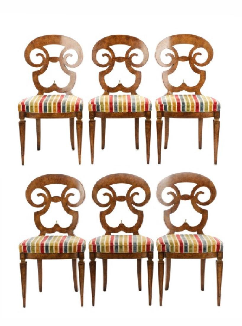 Six Mastercraft Attr. Burlwood Style Dining Chairs