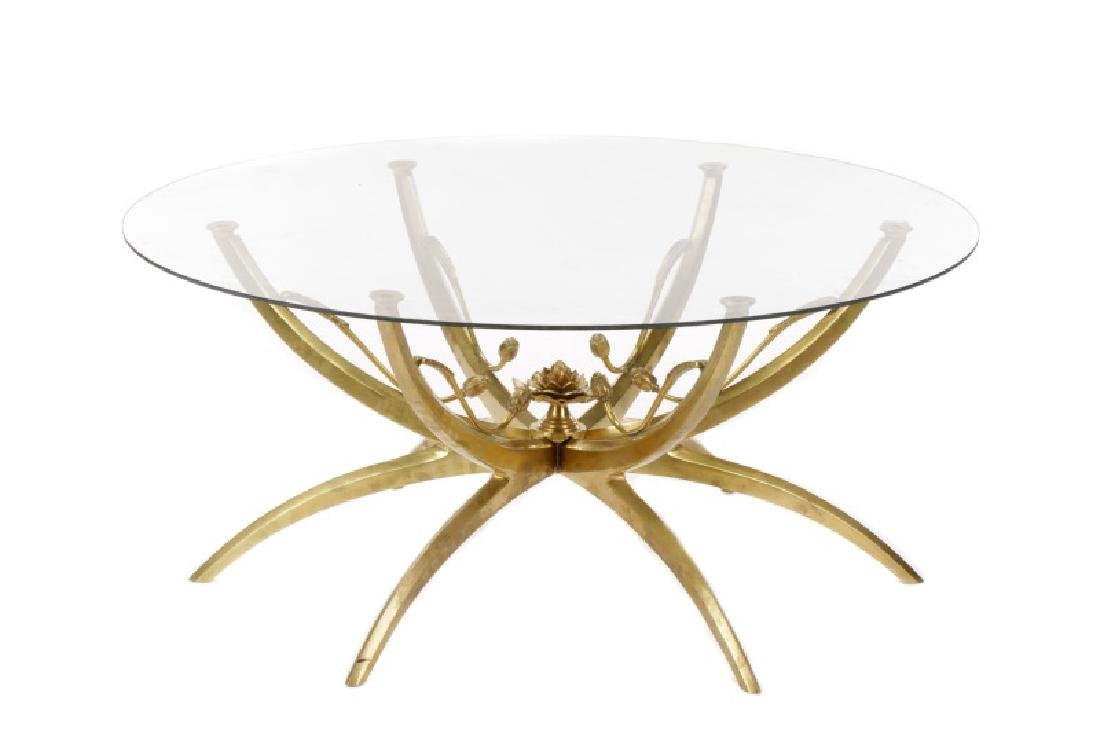Mid-Century Brass & Glass Lotus Motif Coffee Table