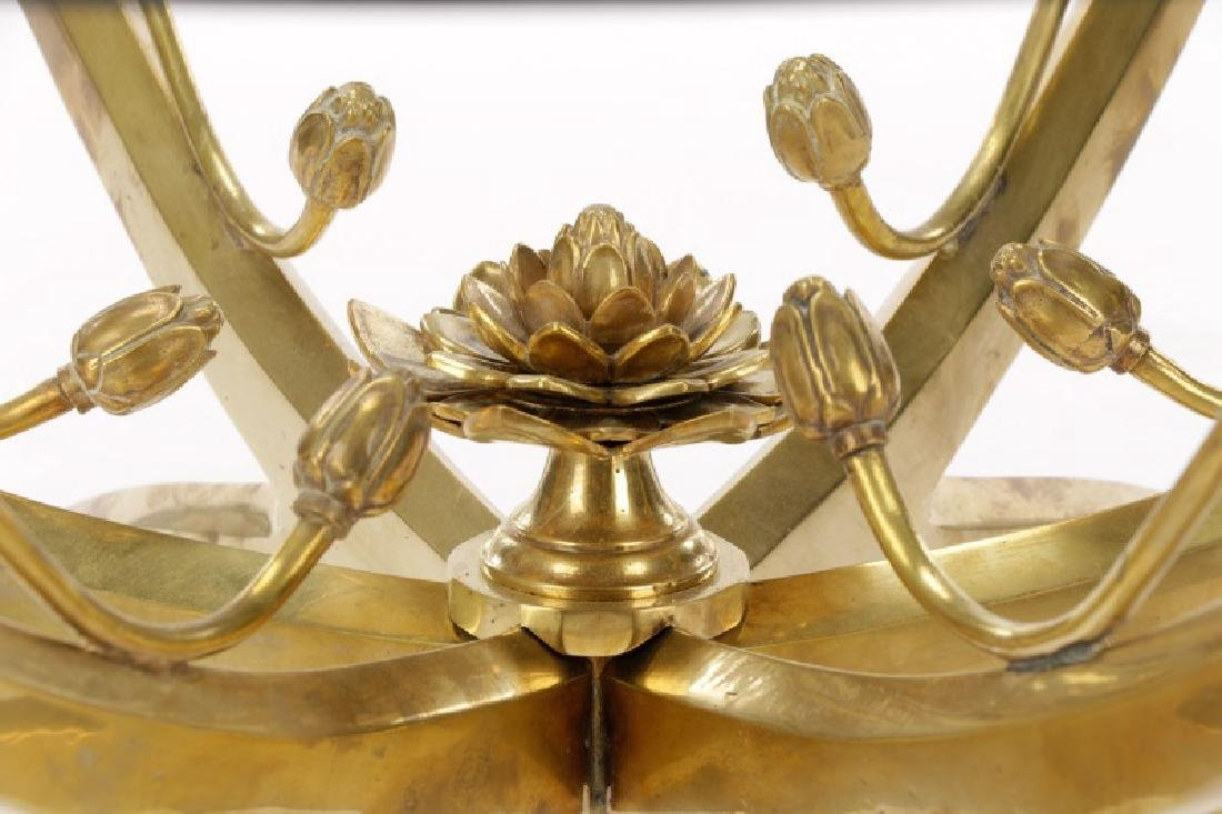 Mid-Century Brass & Glass Lotus Motif Coffee Table - 2
