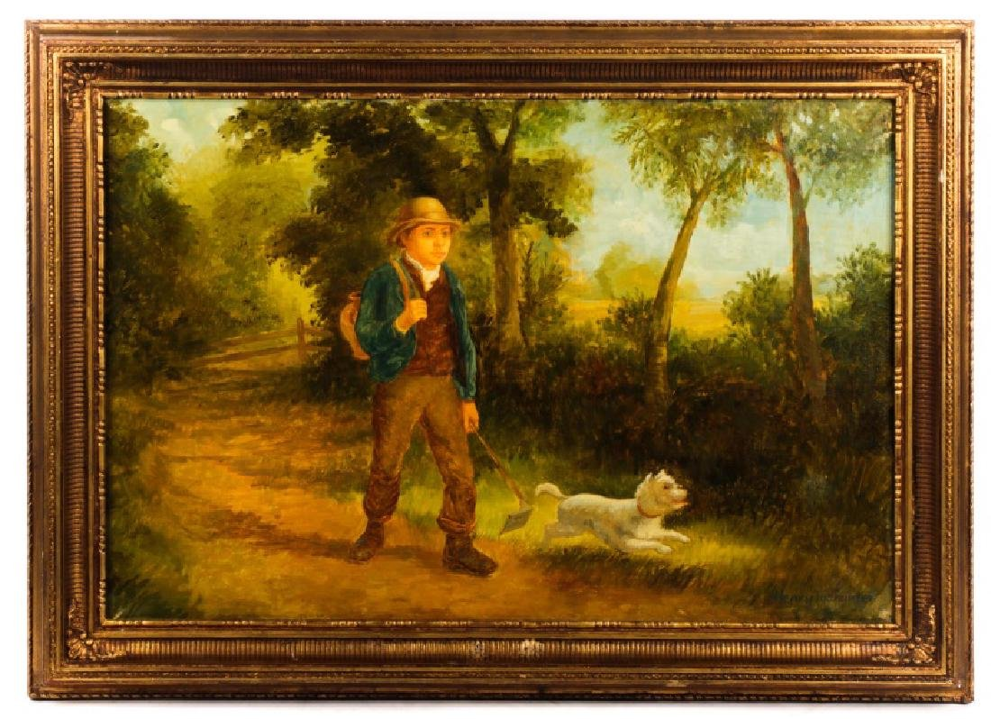 """American School, """"Forest Jaunt"""", Signed O/C"""