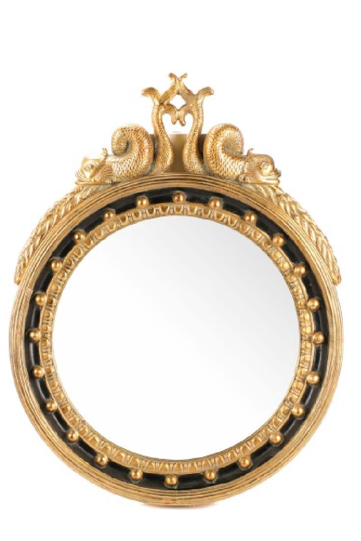 Large Contemporary Bullseye Mirror w/ Dolphins
