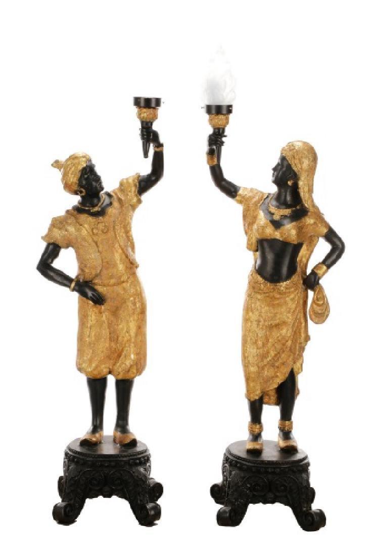 Pair of Blackamoor Torchiere Floor Lamps