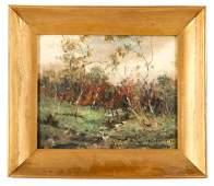 """Herbert Day """"Late Summer Landscape"""", Oil on Board"""