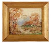 "Herbert Day ""Autumn Landscape"", Oil on Board"