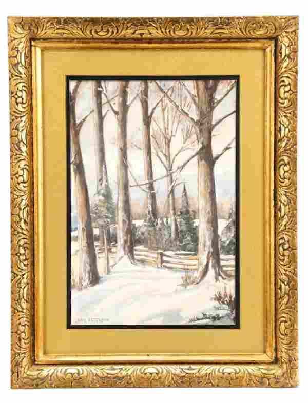 """Jane Peterson, """"Snow Covered Trees"""", Watercolor"""