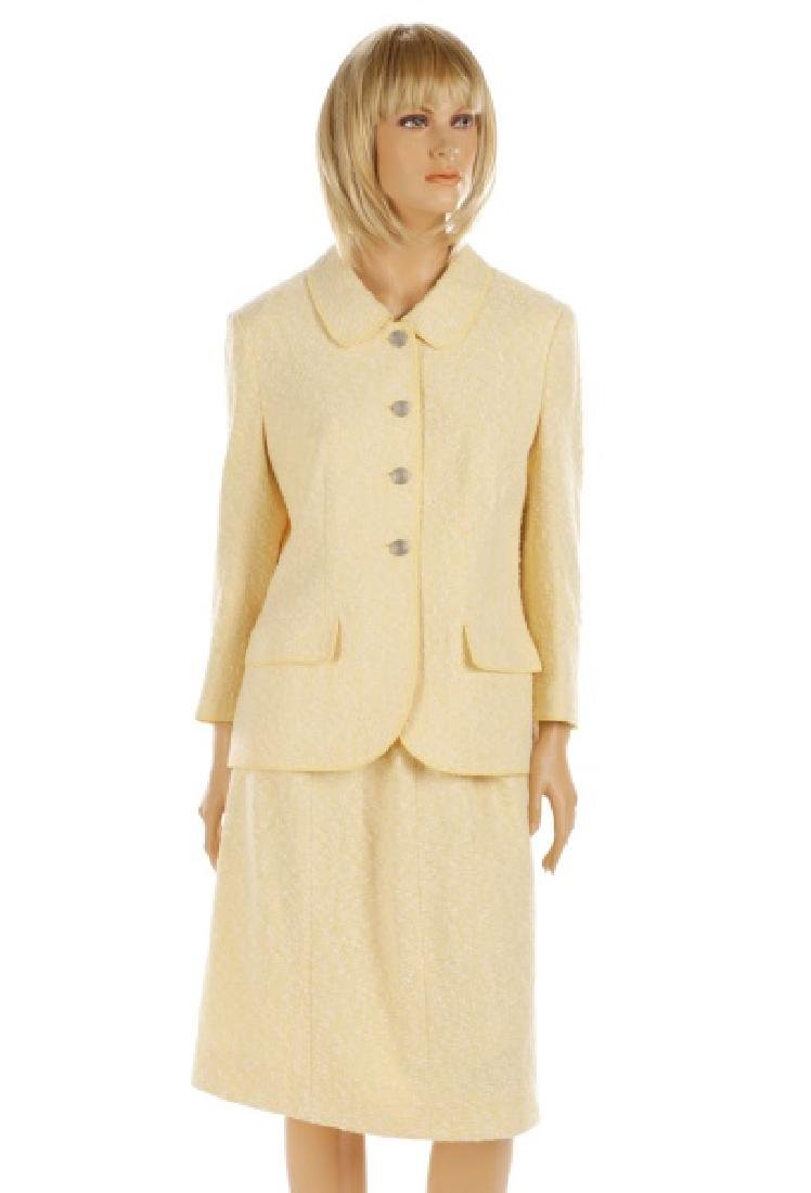 CHANEL Cream & Pale Yellow Cotton/Wool Tweed Suit