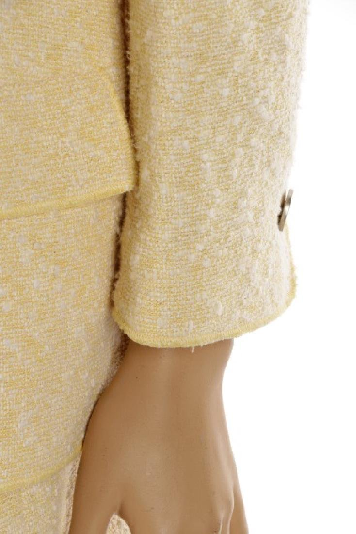 CHANEL Cream & Pale Yellow Cotton/Wool Tweed Suit - 5