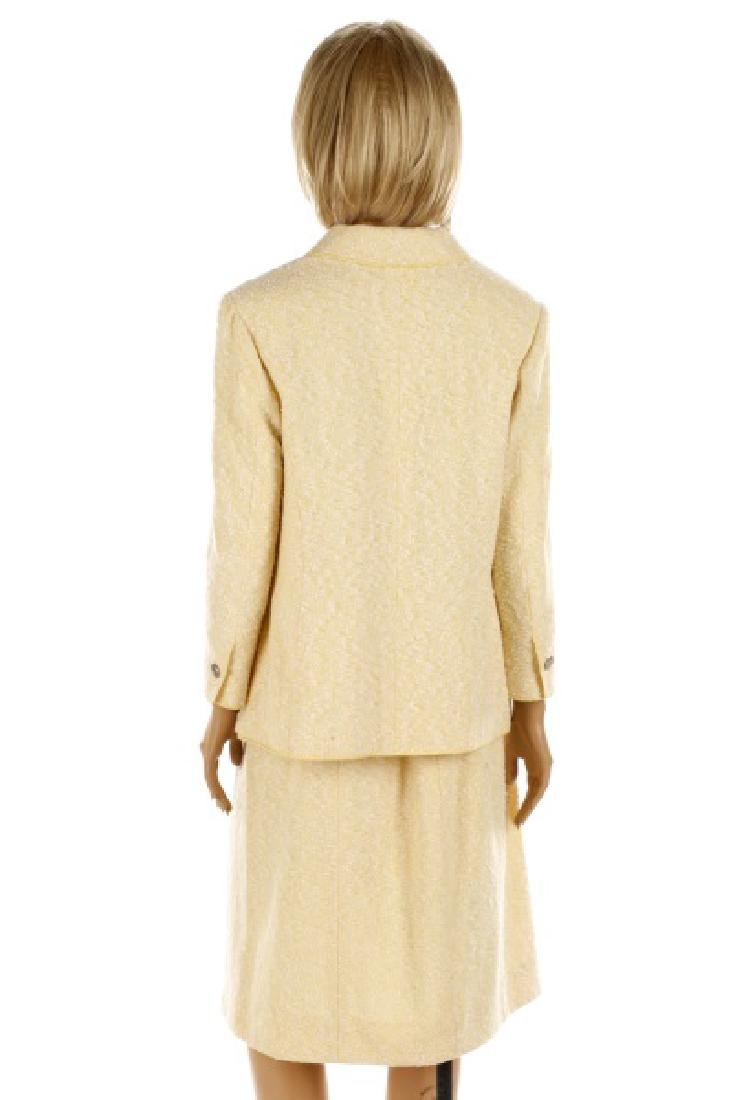 CHANEL Cream & Pale Yellow Cotton/Wool Tweed Suit - 7