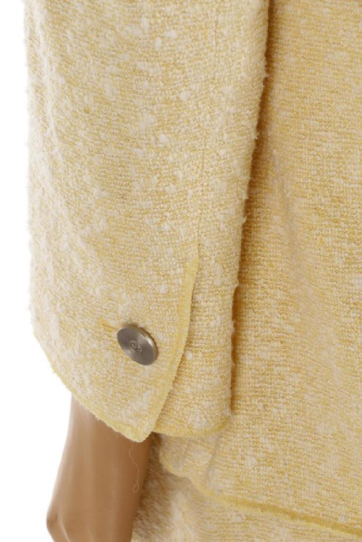 CHANEL Cream & Pale Yellow Cotton/Wool Tweed Suit - 8