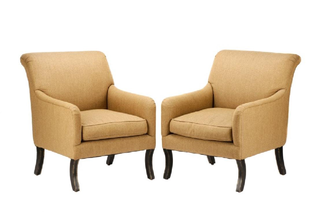 Pair, A. Rudin Upholstered Lounge Armchairs