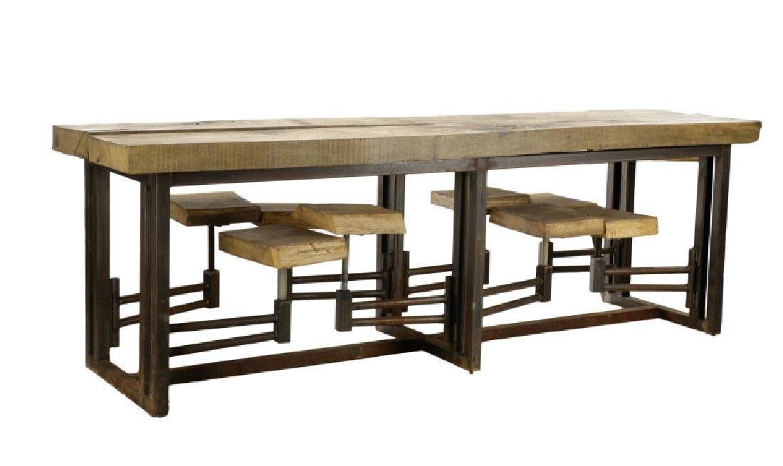 Industrial Iron & Wood Table w/Swing-Out Stools