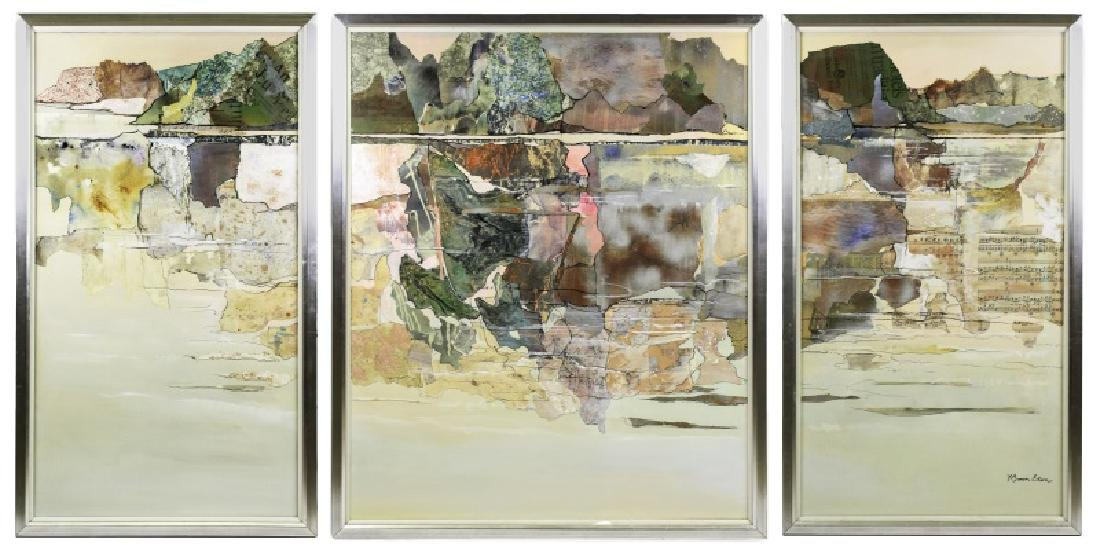 Large Abstract Collage Triptych Landscape, Signed