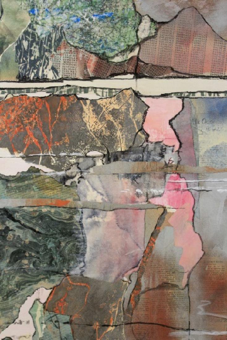 Large Abstract Collage Triptych Landscape, Signed - 2