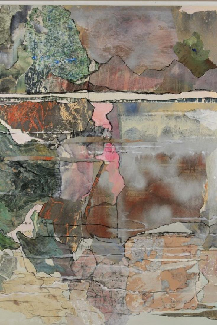 Large Abstract Collage Triptych Landscape, Signed - 4