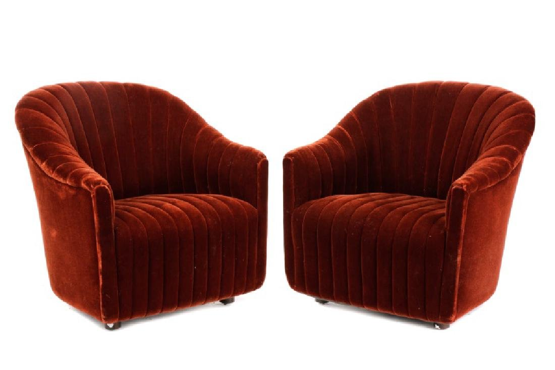Pair, Ward Bennett Channel Back Mohair Club Chairs