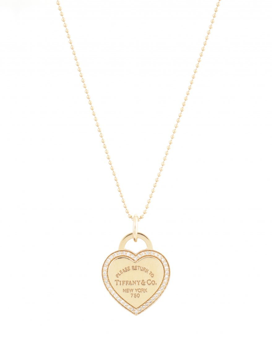 Tiffany & Co. 18K Gold & Diamond Heart Pendant