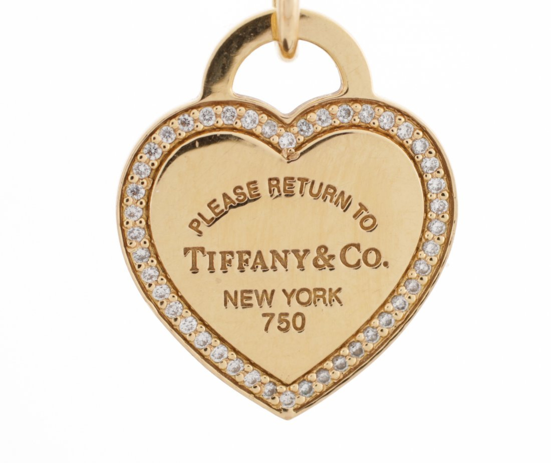 Tiffany & Co. 18K Gold & Diamond Heart Pendant - 2
