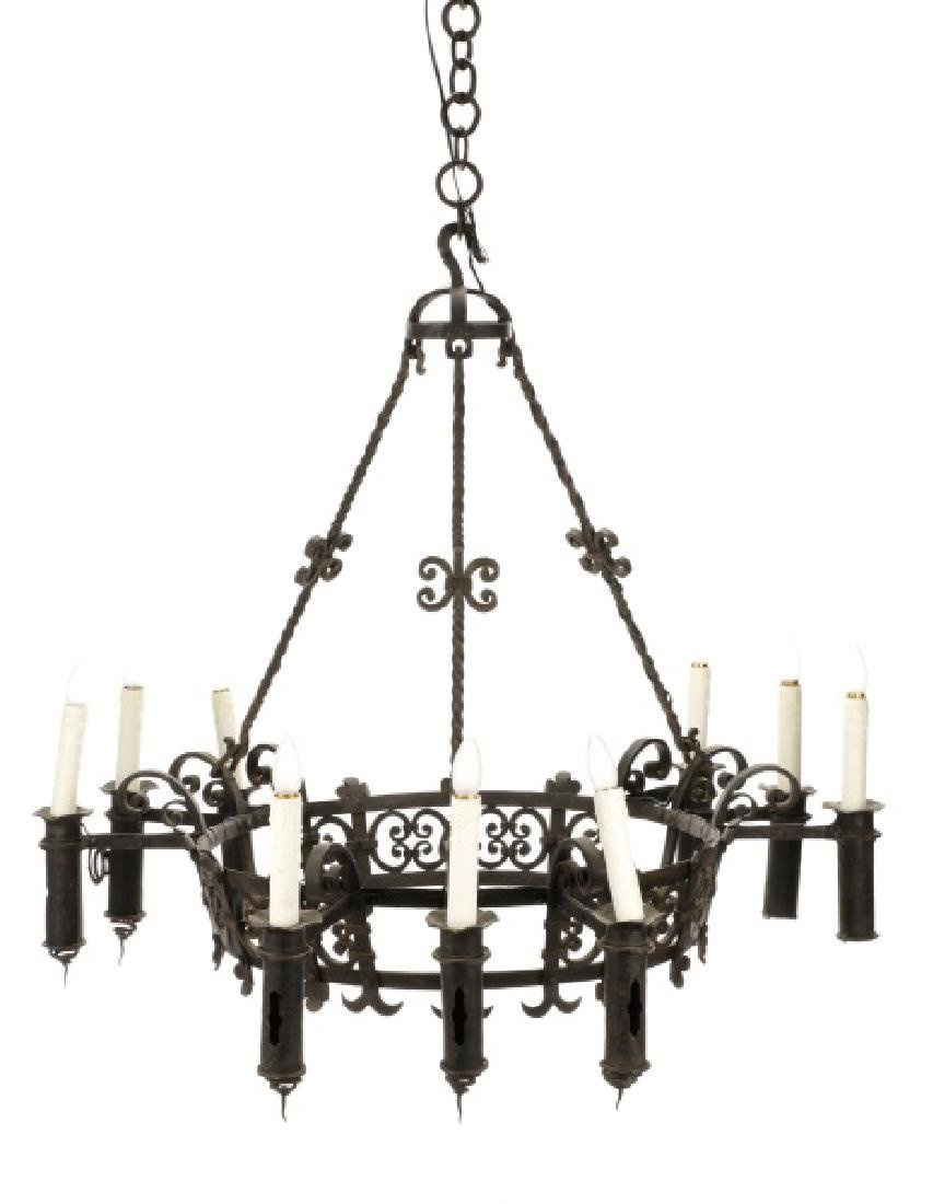 Large French Gothic Style Iron 9-Light Chandelier
