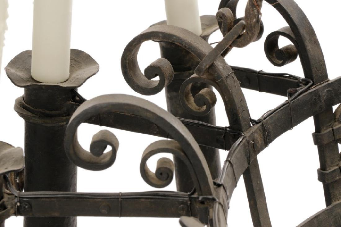Large French Gothic Style Iron 9-Light Chandelier - 5