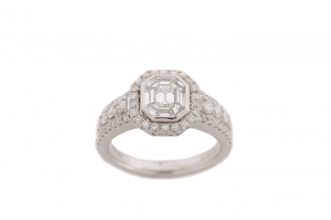 18K White Gold Asscher Cut Diamond Ring