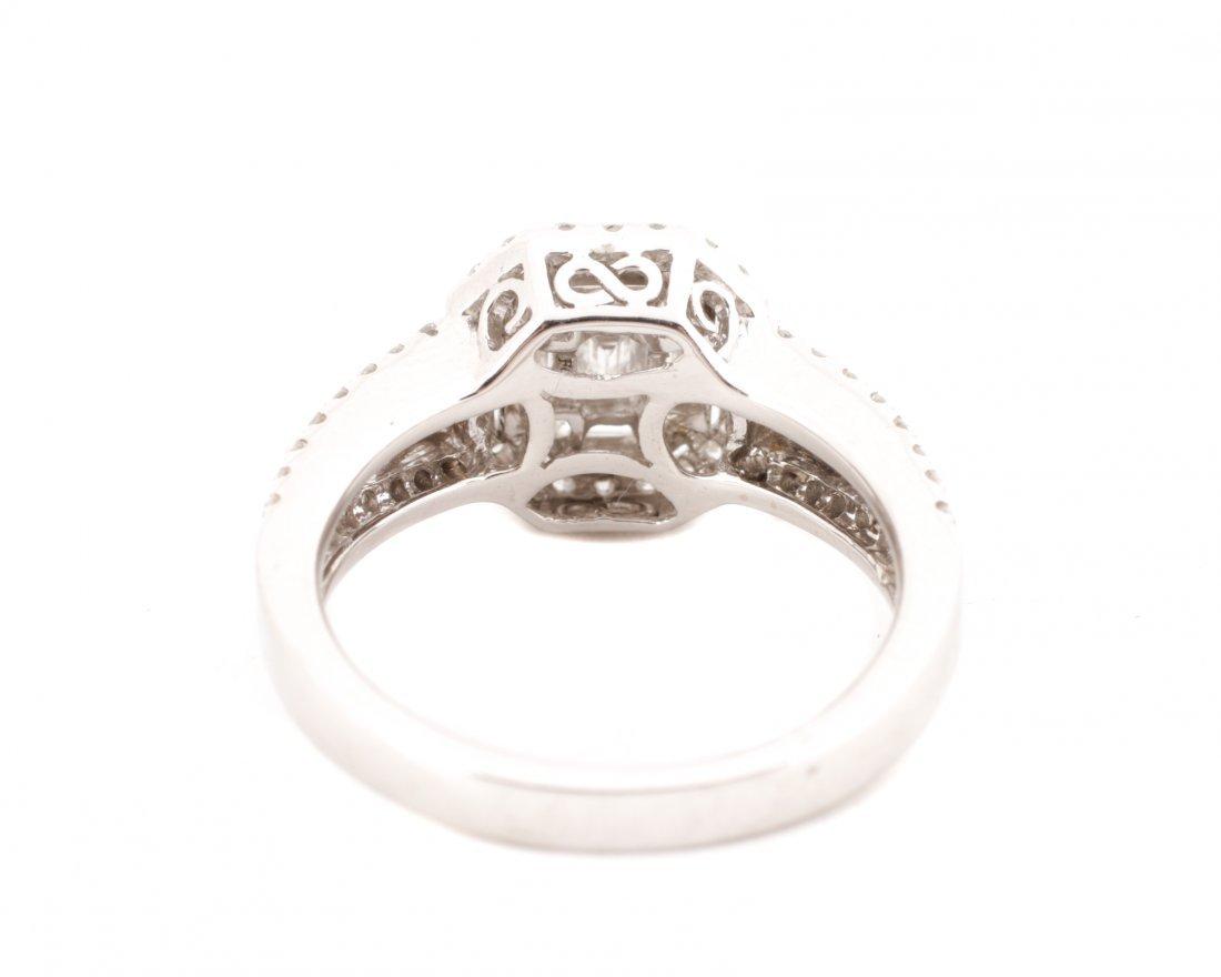 18K White Gold Asscher Cut Diamond Ring - 4