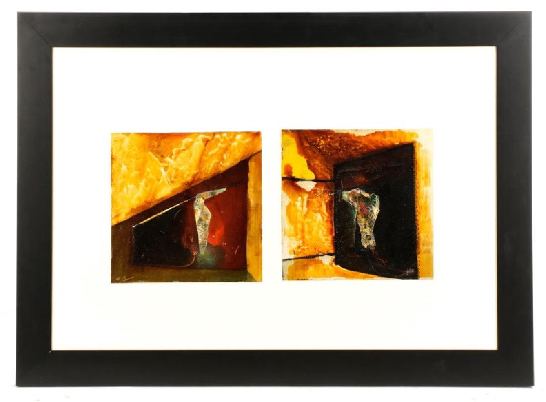 Modern Abstract Mixed Media Diptych, TL Lange