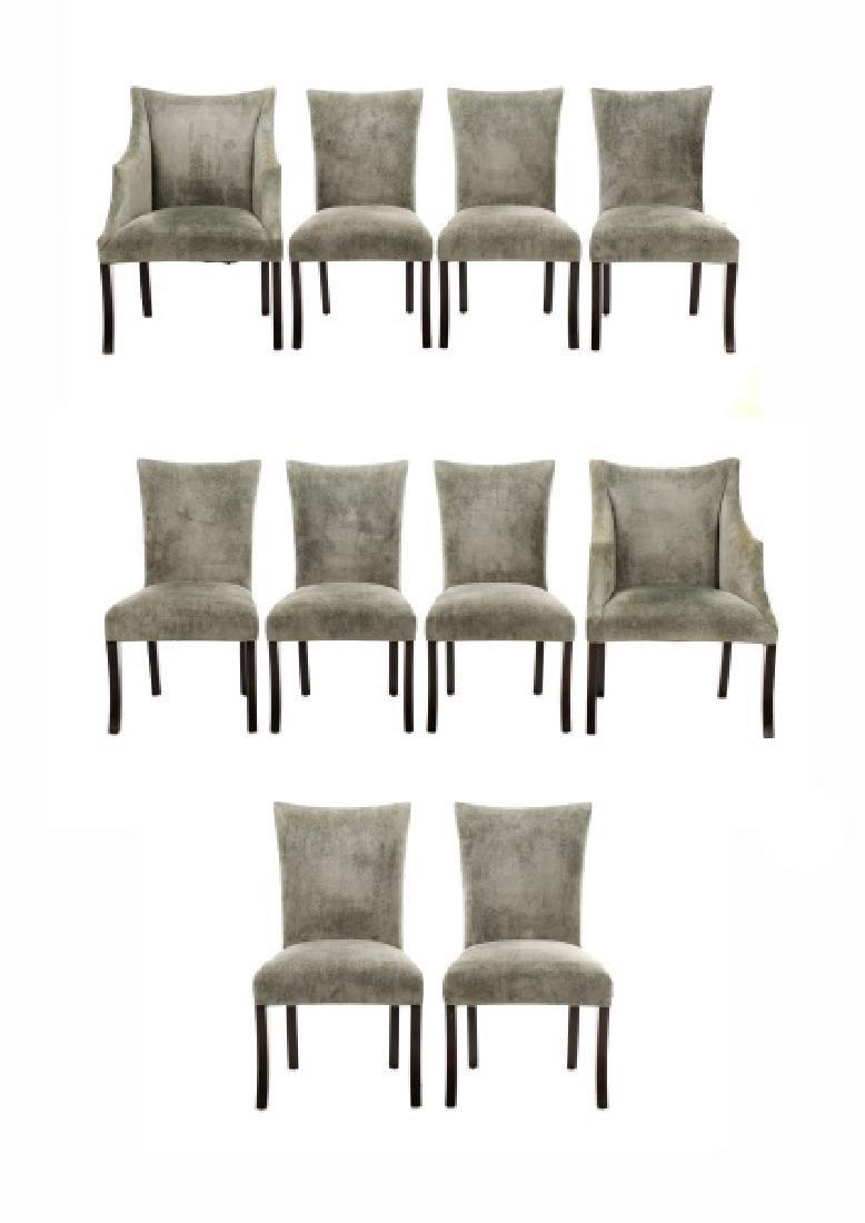 Set of 10 Donghia Velvet Upholstered Dining Chairs