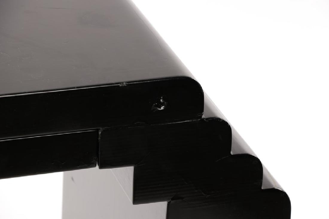 Karl Springer Style Black Lacquered Console Table - 3