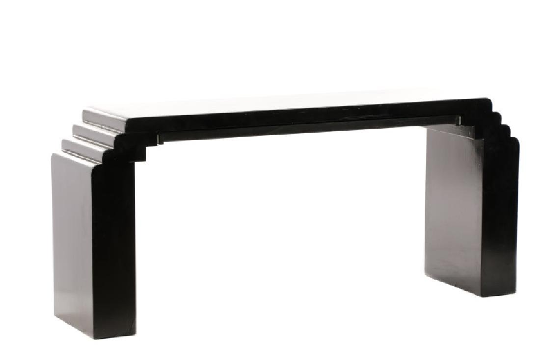 Karl Springer Style Black Lacquered Console Table - 7