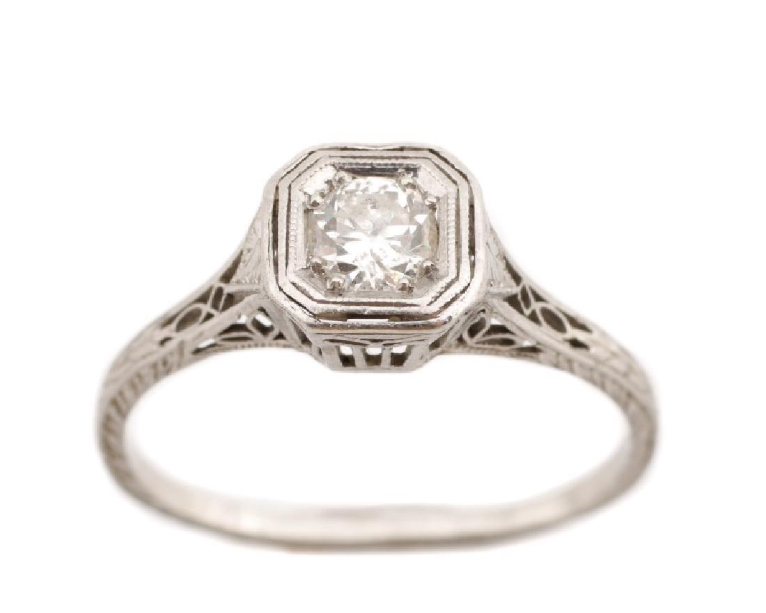Art Deco Platinum & Diamond Engagement Ring