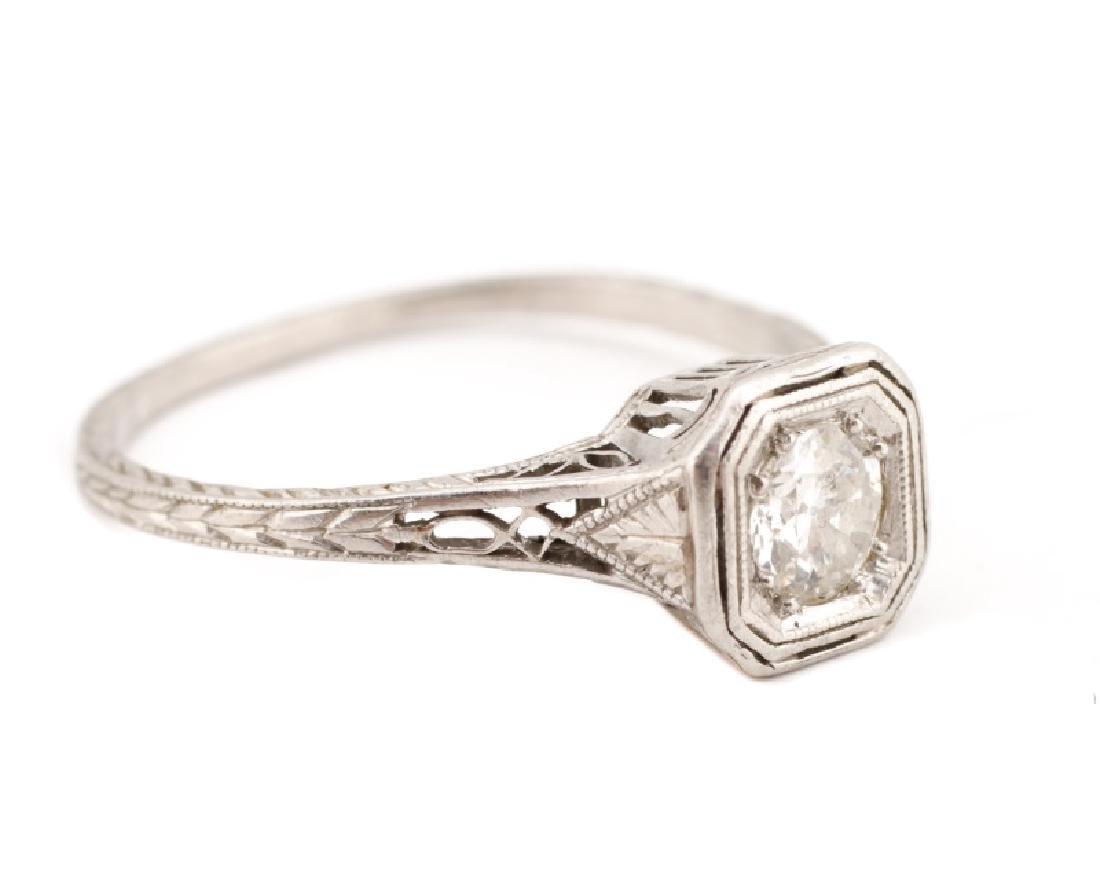 Art Deco Platinum & Diamond Engagement Ring - 3