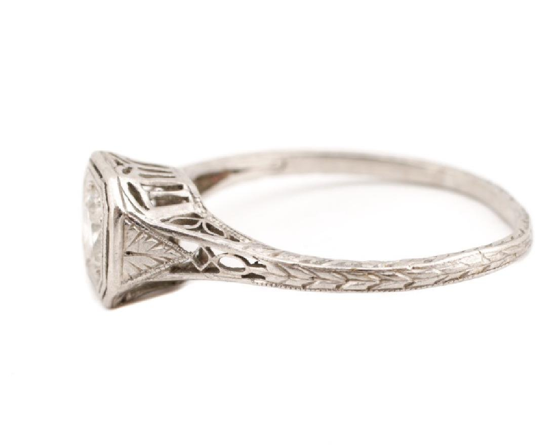 Art Deco Platinum & Diamond Engagement Ring - 4