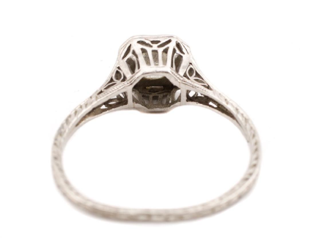 Art Deco Platinum & Diamond Engagement Ring - 5