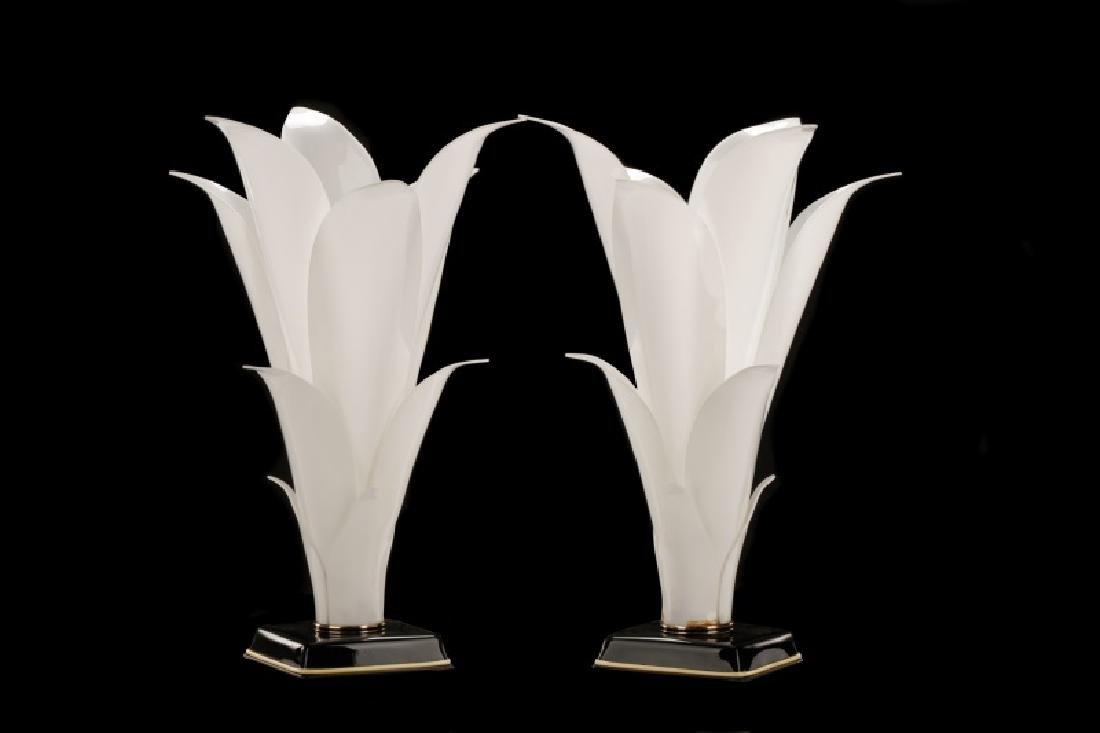 Pair of Rougier Attr. Floriform Table Lamps