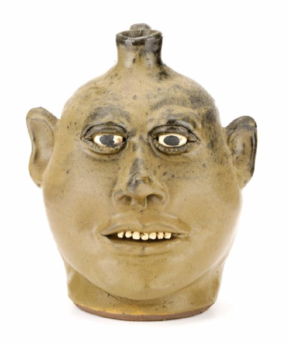 Signed Lanier Meaders Face Jug with Seven Teeth