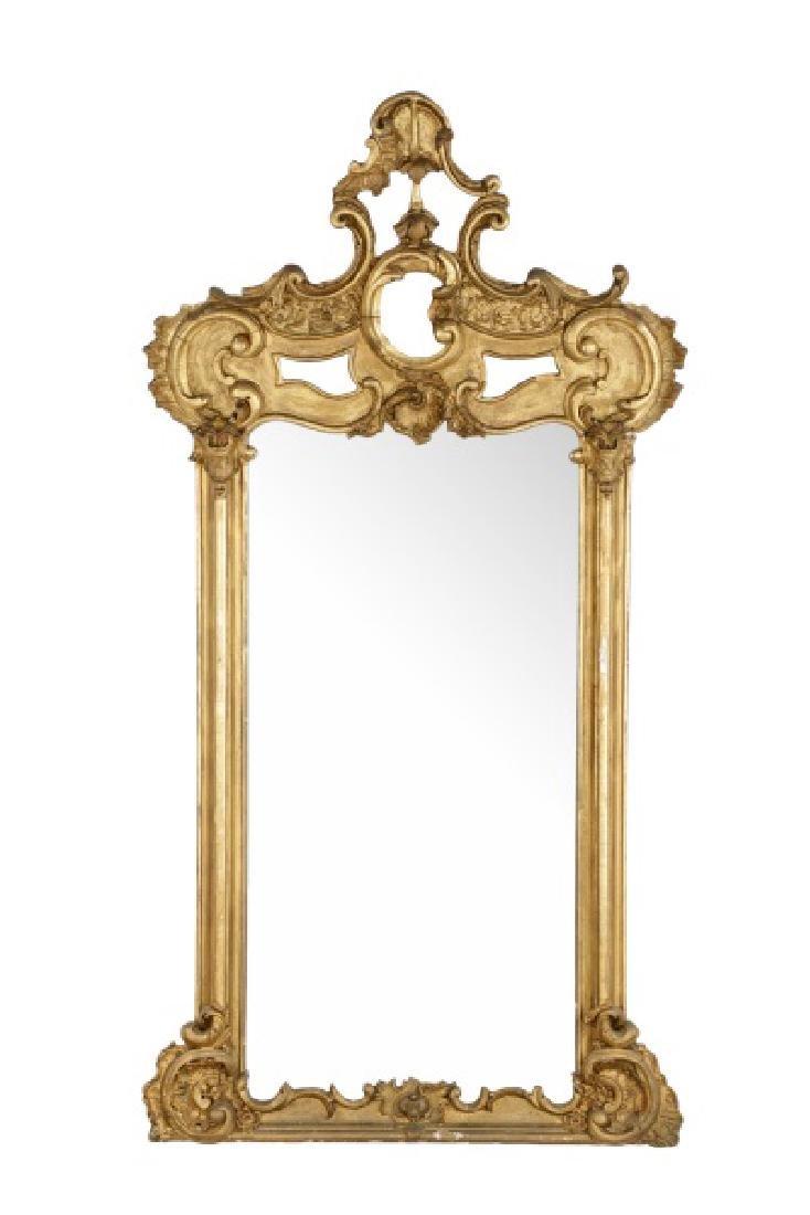 Rococo Revival Giltwood C-Scroll Mirror, 19th C