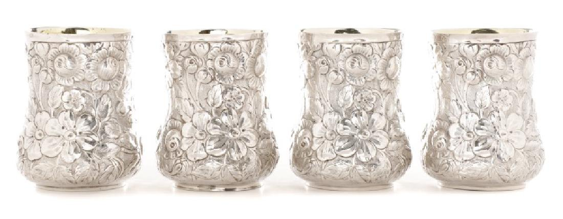 4 Galmer Sterling Silver Repousse Cups w/ Roses