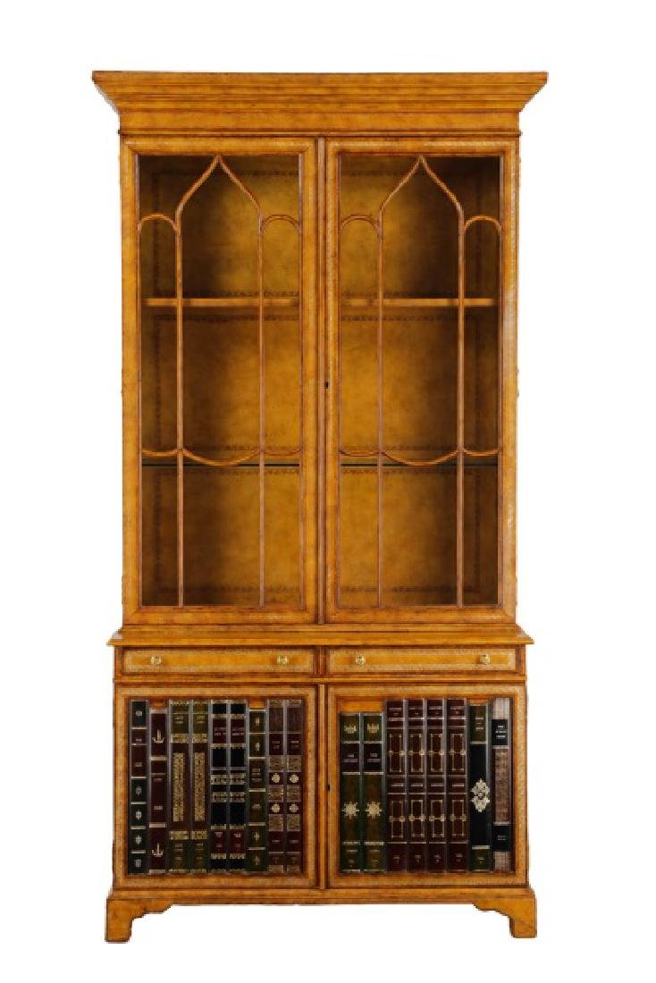 Maitland Smith Leather Covered Bookcase Cabinet