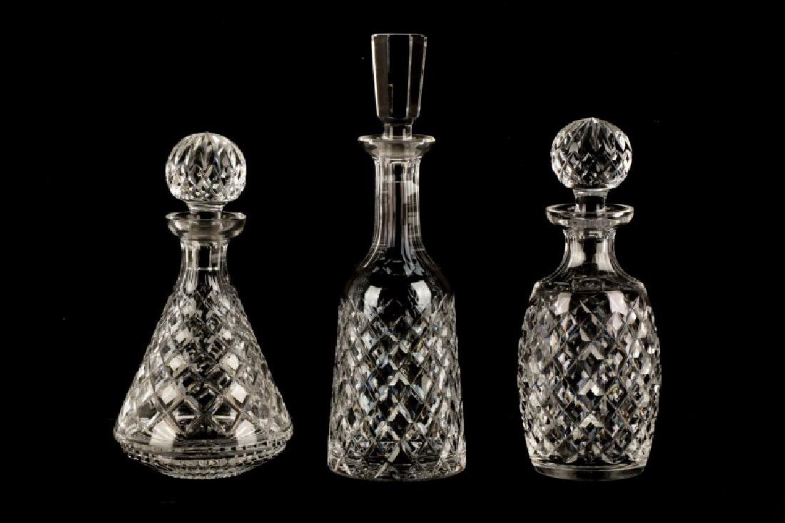 "3 Waterford Crystal Decanters in ""Alana"" Pattern"