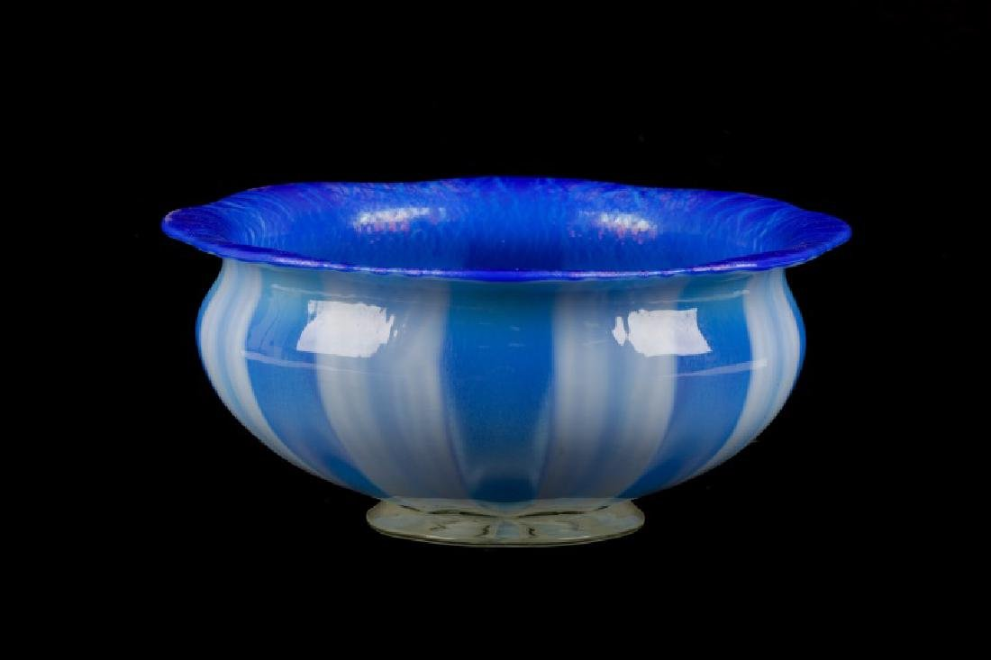 Iridized Blue & Opalescent Bowl, After Tiffany
