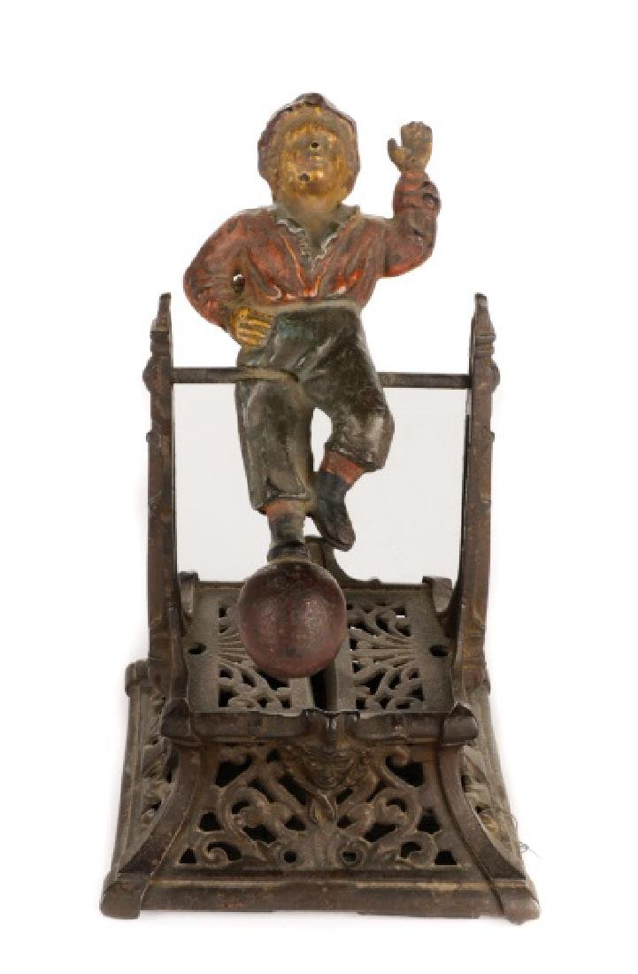 Cast Iron Boy on Trapeze Mechanical Coin Bank