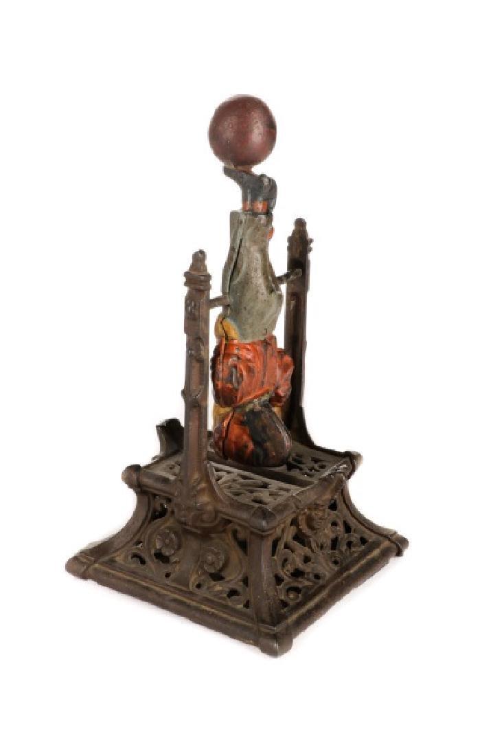 Cast Iron Boy on Trapeze Mechanical Coin Bank - 3