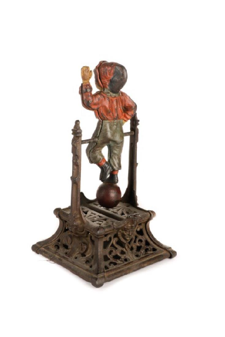 Cast Iron Boy on Trapeze Mechanical Coin Bank - 4