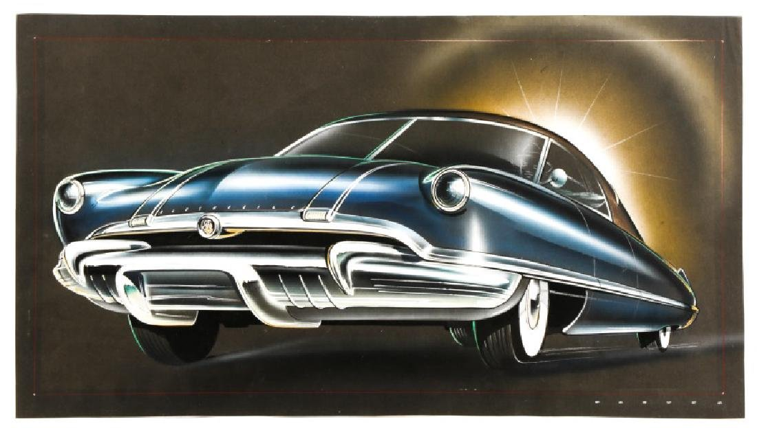 Oldsmobile Futuramic Concept Car Drawing, Signed