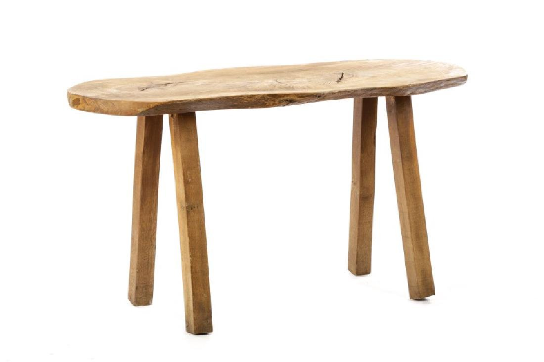 Bohemian Chic Rustic Oak Slab Trestle Table