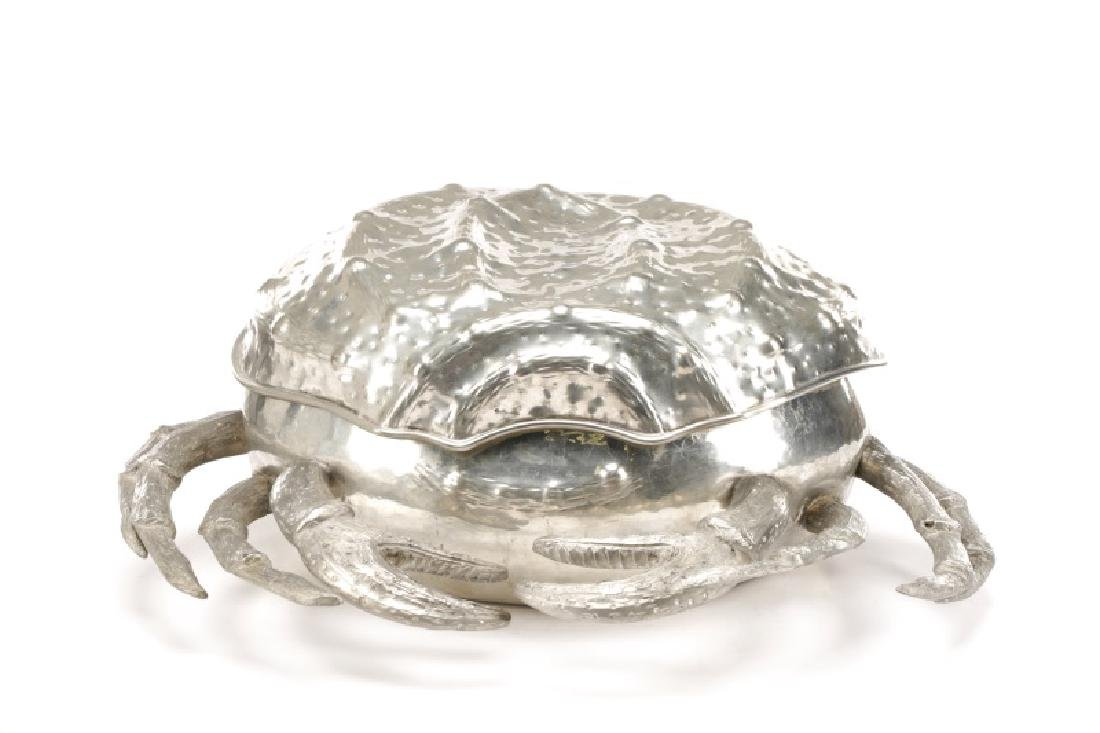Whimsical Italian Pewter Crab Form Covered Box